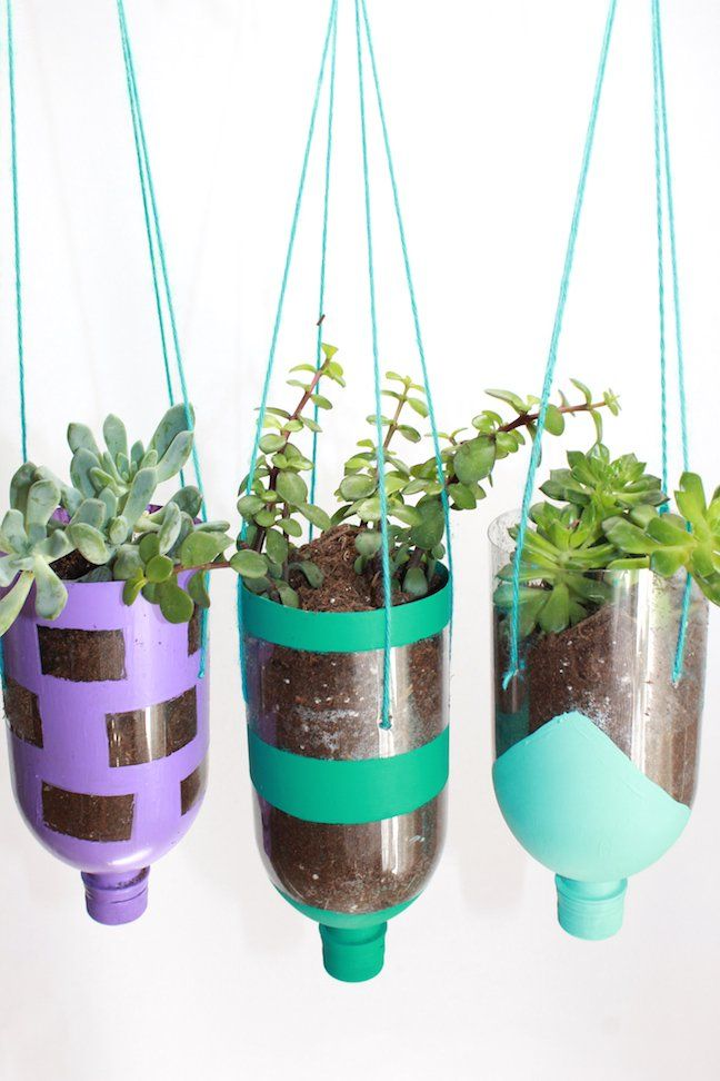 How To Make Hanging Planters from Recycled Water Bottles #recycledart
