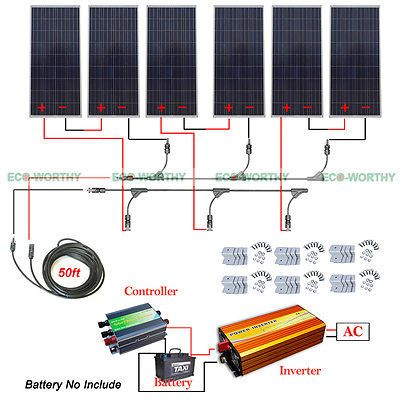 900w 24v Off Grid Solar System Kit 6x160w Solar Panel W 1500w Inverter For Home Solar System Kit Off Grid Solar Best Solar Panels