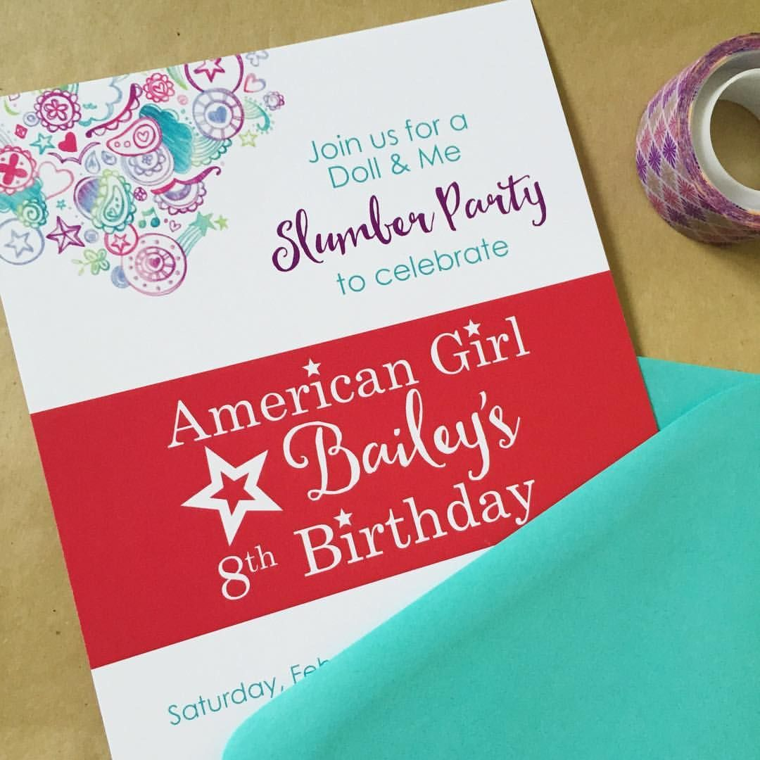 Doll and me slumber party invitation. American Girl | Girl Birthday ...