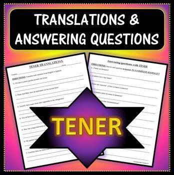 spanish 1 tener practice worksheet answering questions and translation sentences. Black Bedroom Furniture Sets. Home Design Ideas