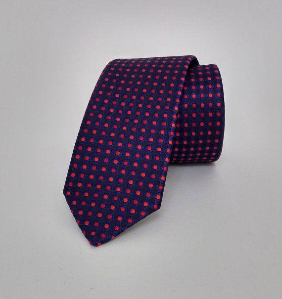 Dark Blue and Red Necktie, Dark Blue and Red Men's Tie, Dark Blue and Red Cravat, Dark Blue and Red Tie - DK238 #handmadeatamazon #nazodesign
