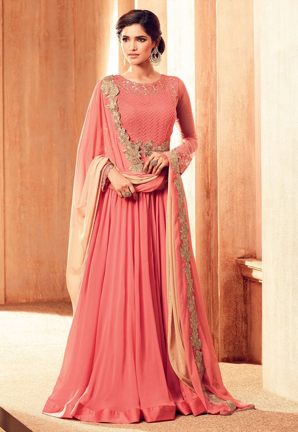 d3cddc5005 Faux Georgette Front Slit Abaya Style Suit in Pink This Semi-stitched  Prepossessing attire with Poly Shantoon Lining is Regally Allured with  Resham, Zari, ...