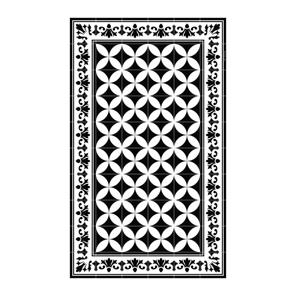 Beija Flor Sofi Vinyl Floor Mat Black White 70x180cm