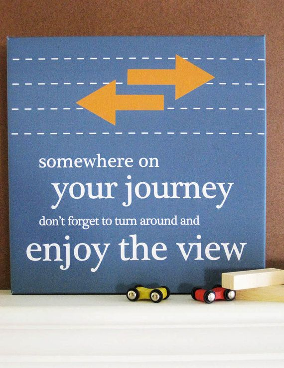 """Somewhere on your journey don't forget to turn around and enjoy the view."" Another great quote for a graduation gift!"