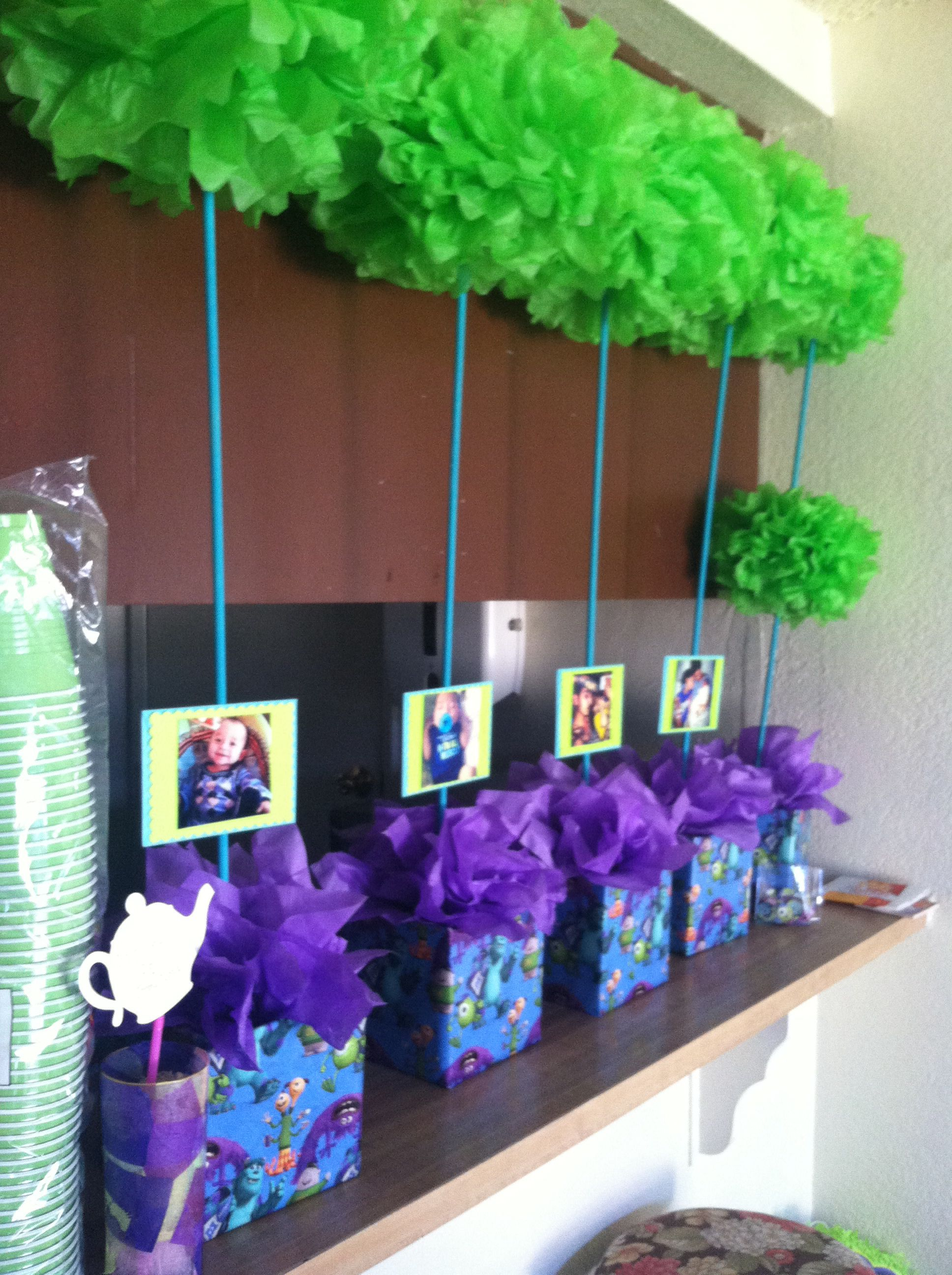 Monsters inc birthday centerpieces DYI