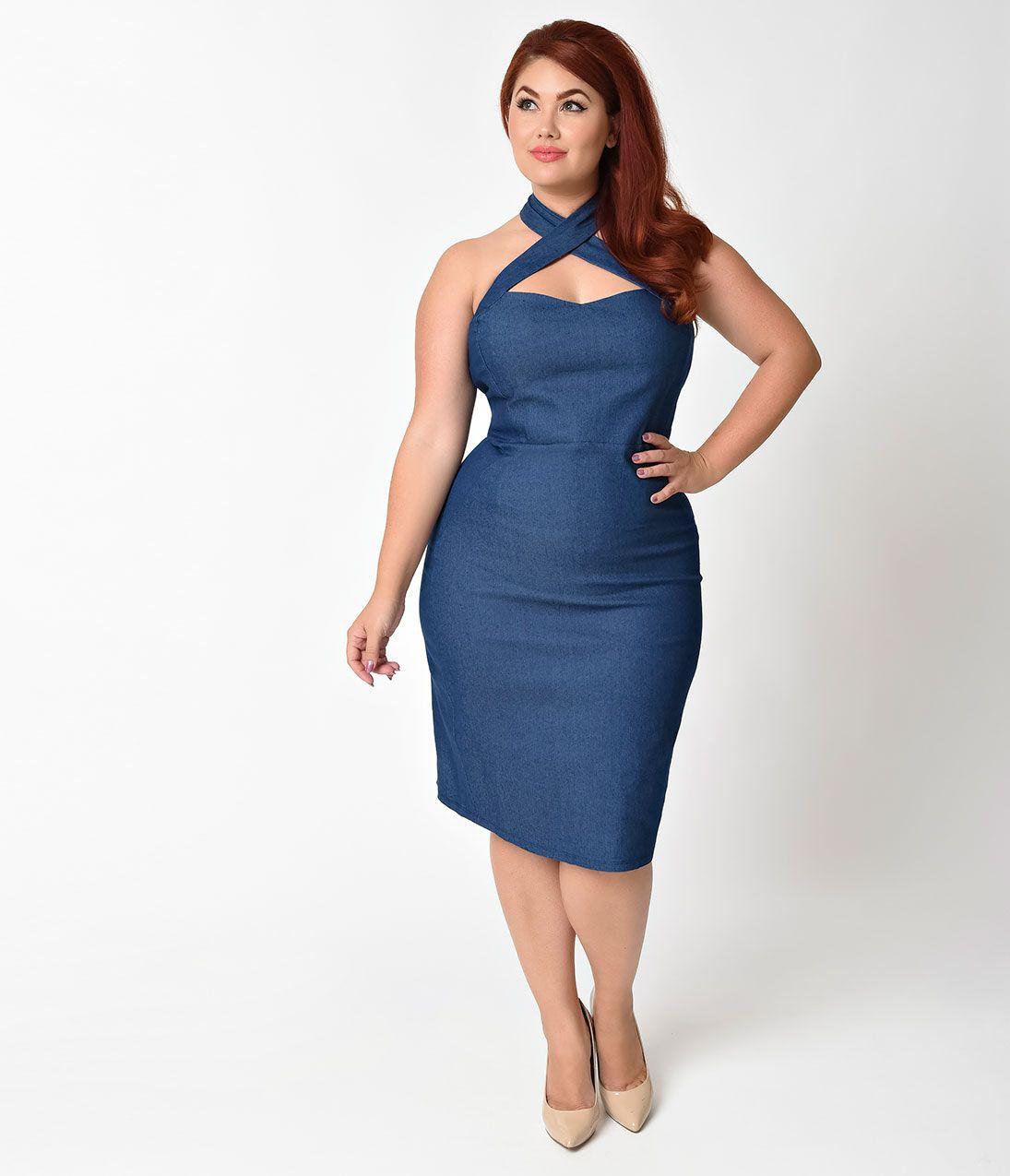 e66d945b8e 1960s Plus Size Dresses   Retro Mod Fashion Unique Vintage Plus Size 1950s  Denim Blue Cross Halter Penelope Wiggle Dress