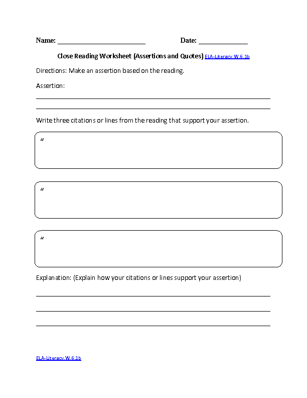 Close Reading Worksheet ELA-Literacy.W.6.1b Writing Worksheet ...