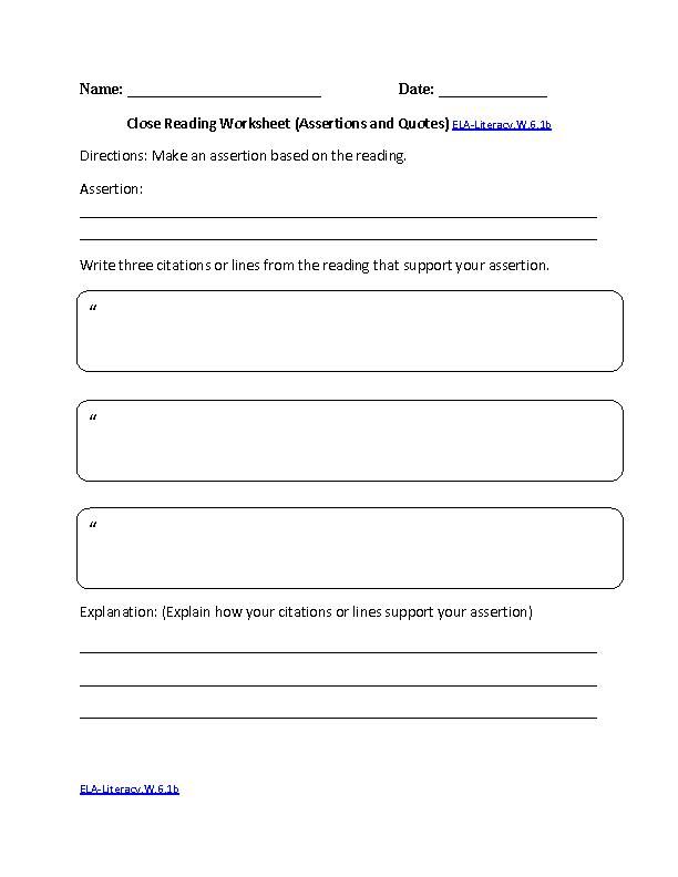 Close Reading Worksheet ELA-Literacy.W.6.1b Writing Worksheet ...