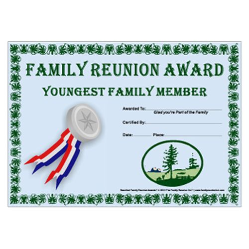 Family Reunion Hut - Youngest Family Member Award Prairie Life - recognition certificate template