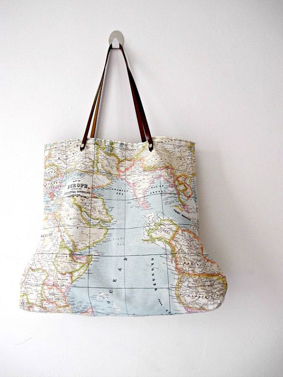 World map medium tote bag tote bags pinterest medium tote 3 world map bags special listing for johanna via etsy gumiabroncs Images