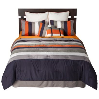 Full Boy Teen Dorm Grey Orange Comforter Bedding Set