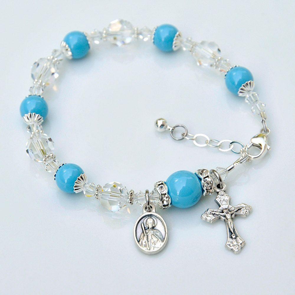 St jude rosary bracelet or choice of saint medal and prayer card