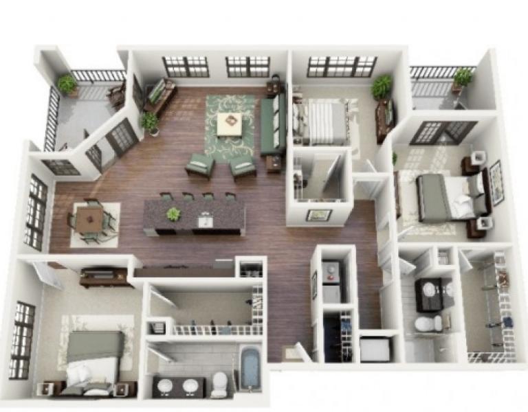 20 Gambar Denah Rumah Ukuran 8x10 3 Kamar Tidur Denah Rumah Rumah Minimalis Desain Rumah