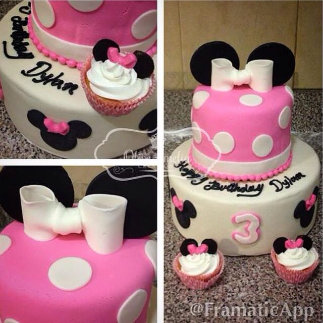 Minnie Mouse themed birthday cake by Olive Amelia Creations NYC