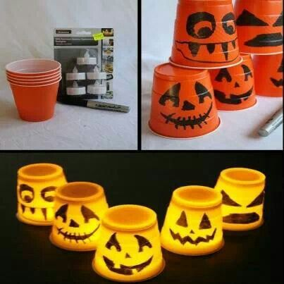 Cup jackolanterns Works with regular size solo cups too 2d - cheap easy diy halloween decorations