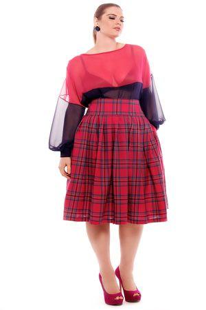 JIBRI High Waist Pleated Print Skirt