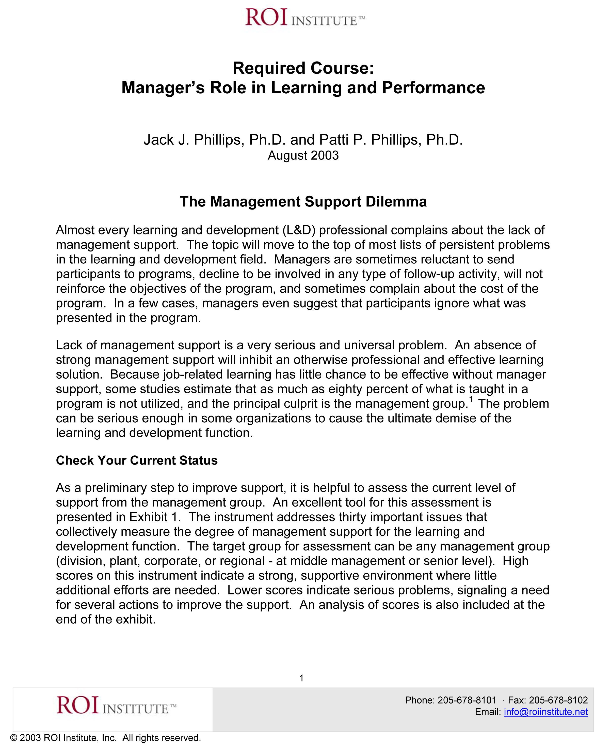 Manager's Role in Learning and Performance