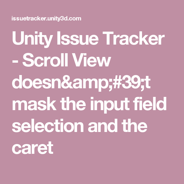Unity Issue Tracker - Scroll View doesn'