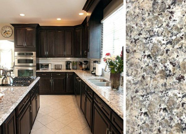 How to Pair Countertop Colors with Dark Cabinets #darkkitchencabinets