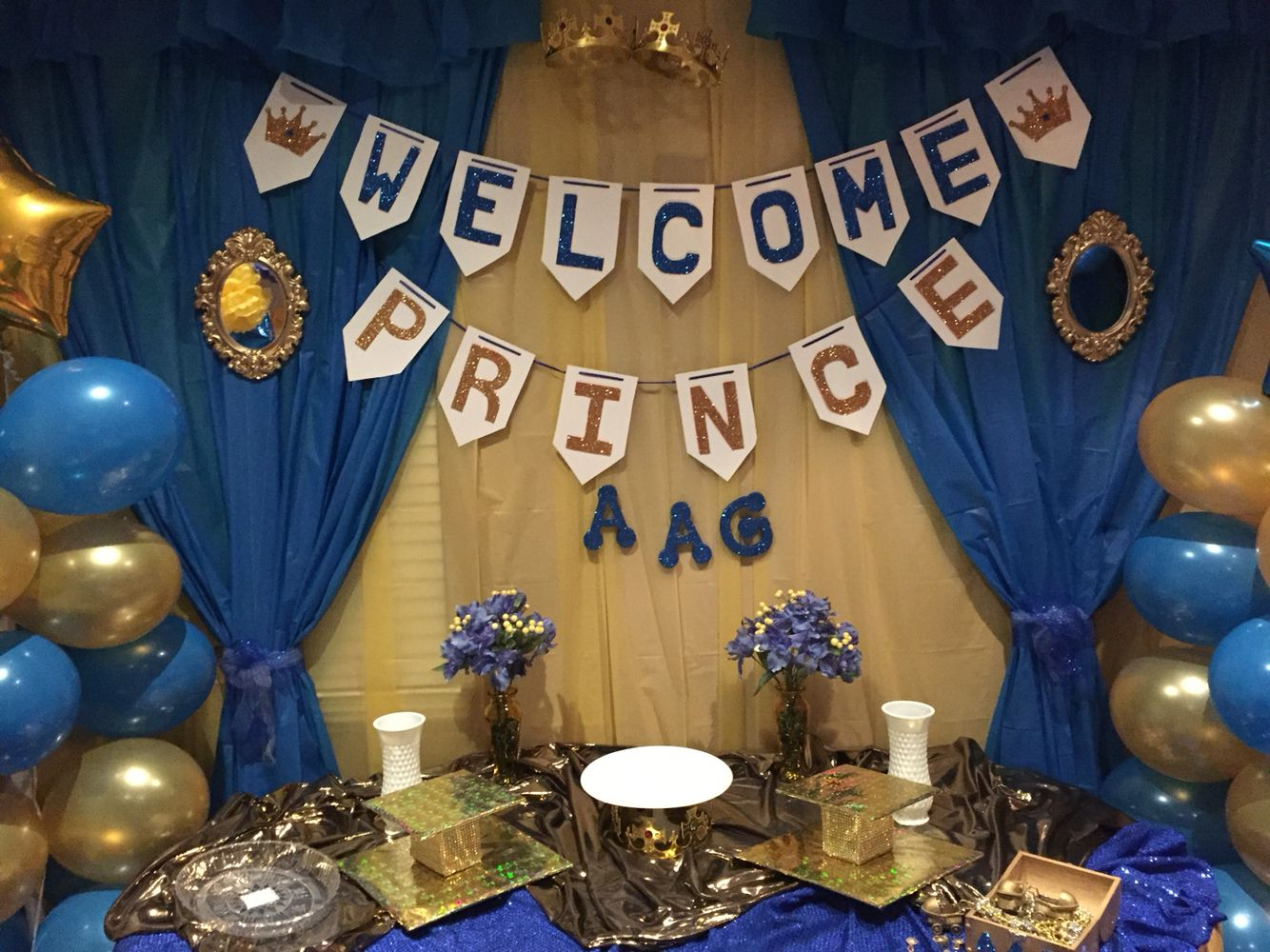 Royal Blue And Gold Baby Shower Cake Table Decorations Baby Shower Cake Table Gold Baby Shower Cake Cake Table Decorations Baby Shower