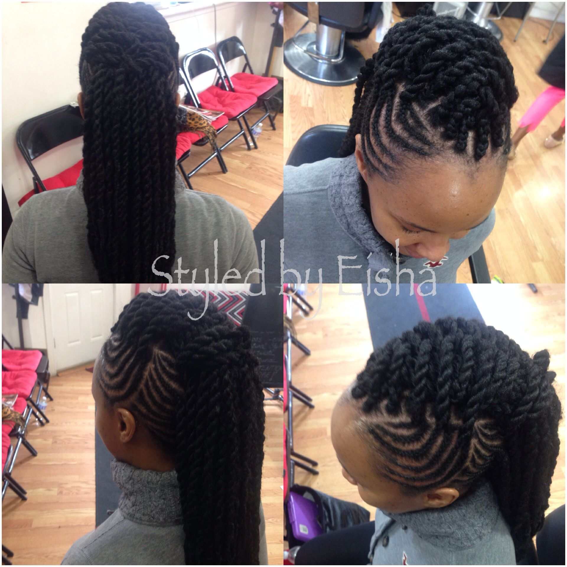 Two Strand Hairstyle With Braids And Marley Twist Natural Hair Styles Hair Styles Love Hair