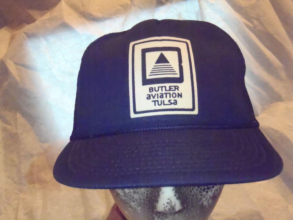VTG Butler Aviation Mesh Snapback Trucker Hat Cap Navy