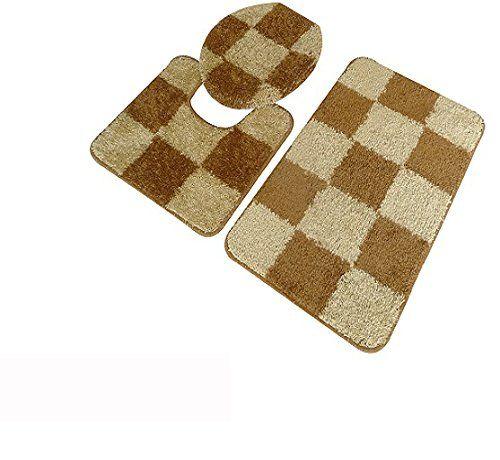 5Th Avenue 3Piece Checkered Bathroom Rug Set Bath Mat Contour Fair 3 Piece Bathroom Rug Sets Inspiration