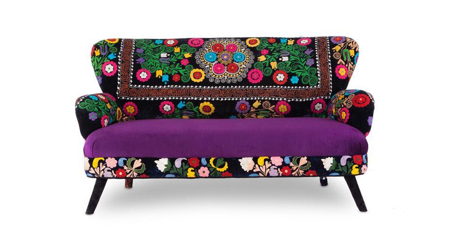 Bohemian patchwork vintage neon repatch berjer for Sari furniture designer