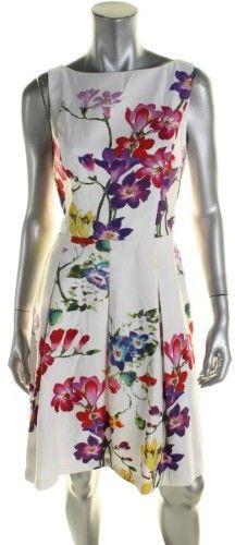 Lauren Ralph Lauren Womens Evalee Floral Printed Fit & Flare Party Dress