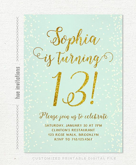 Birthday party invitations teen girl mint and gold turquoise gold birthday party invitations teen girl mint and gold turquoise gold glitter printable 13th birthday party invitation chic digital invite 255 filmwisefo