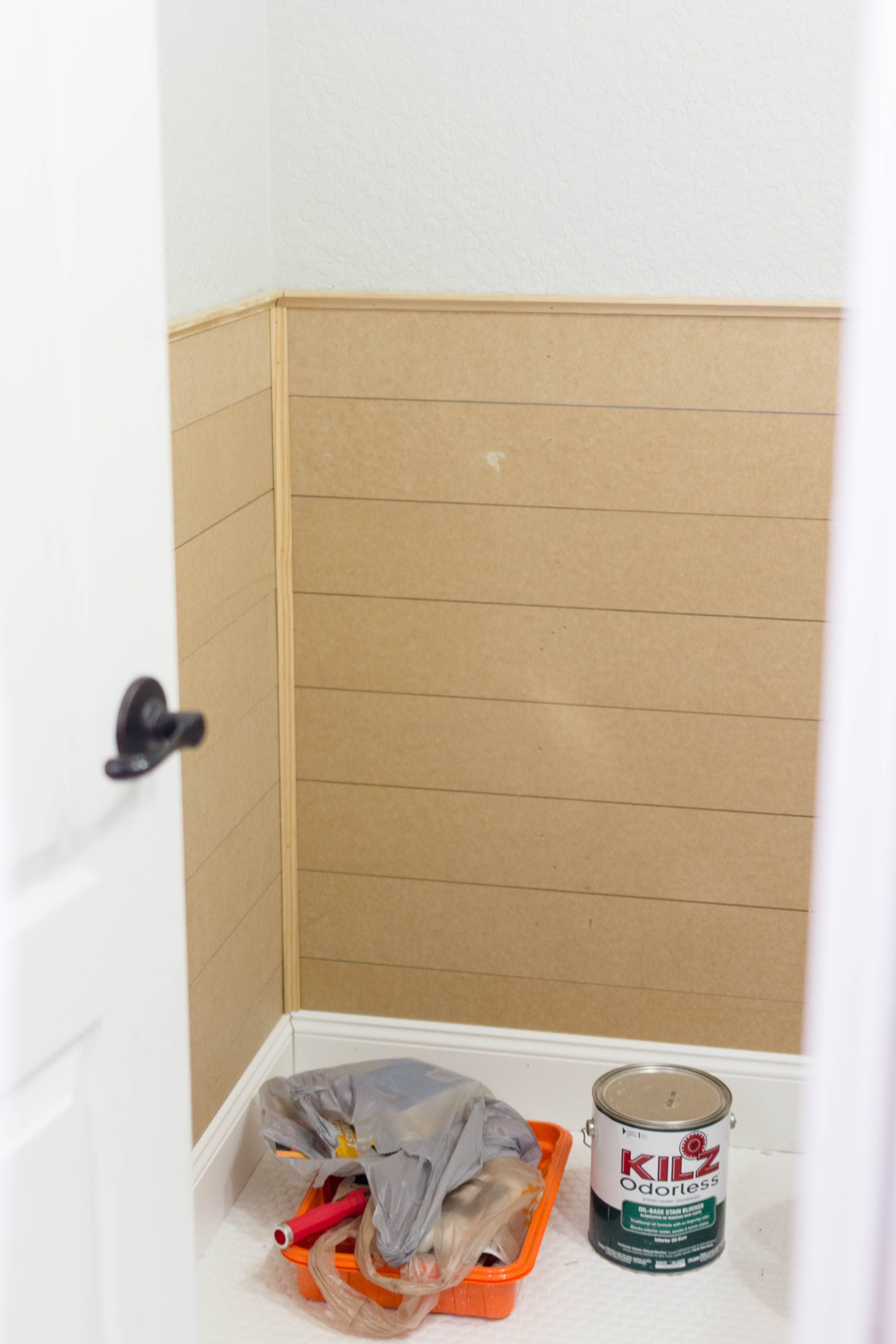 Color Benjamin Moore White Dove Oc 17 Faux Shiplap 25 Mdf Panels Cut Down 5 Powder Room 4 Built In