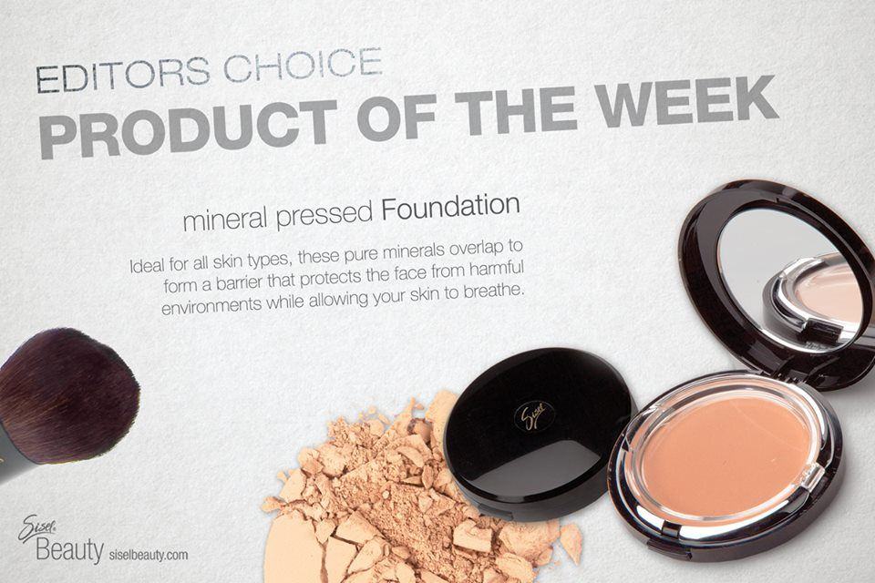 """Mineral Pressed Foundation- """"Ideal for all skin types, these pure minerals overlap to form a barrier that protects the face from harmful environments while allowing your skin to breathe. #SiselBeauty #GiveAway #ProductOfTheWeek #Foundation #Mineral #SkinBarrier #MineralPressedFoundation"""
