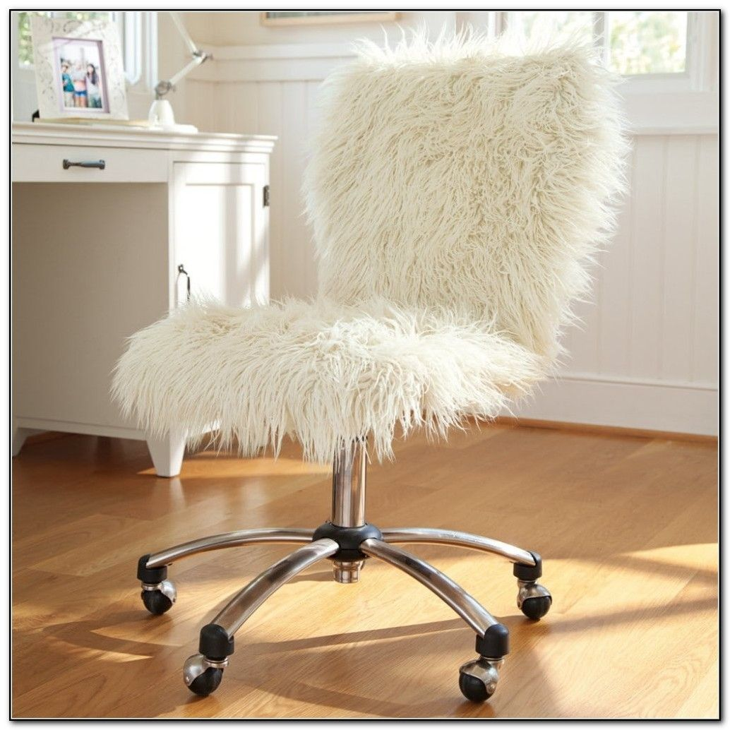 Faux Fur Office Chair Cover Crafts Diy Bedroom Room Chair