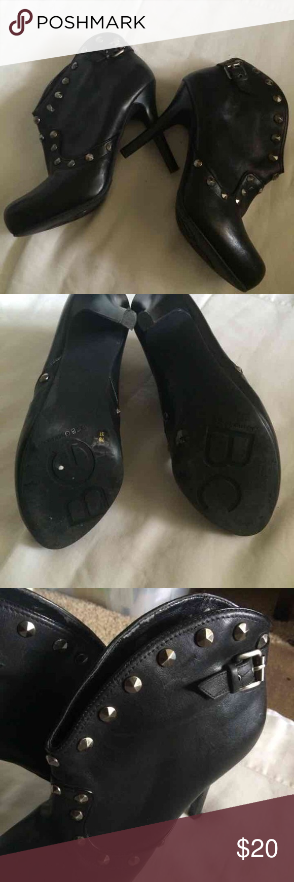 """BCBGeneration Booties. Beautiful Black W/Silver Studded BCBGeneration Booties.                                                                   Size: 7B.                                                                   Heel measures Appx, 4 1/2"""".                                      Minor wear in the inside. BCBGeneration Shoes Ankle Boots & Booties"""