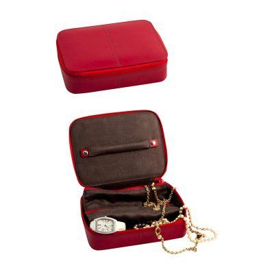 Bey - Berk Red Leather Zippered Jewelry Box - BB630RED