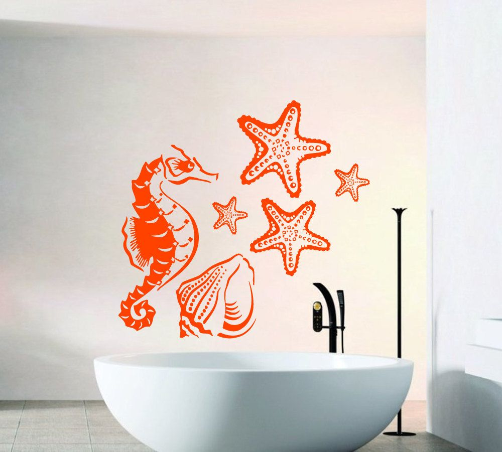 Sea Shell Sticker Sea Shells Wall Decal Starfish Wall Decal Home Decoration