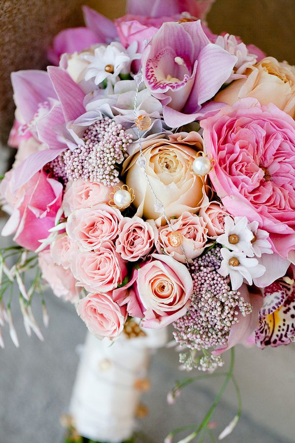 Peach Pink and Lavender Bouquet With Pearls   Flowers, Wedding and ...