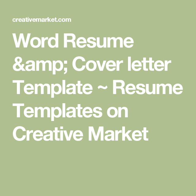Word Resume  Cover Letter Template  Resume Templates On Creative