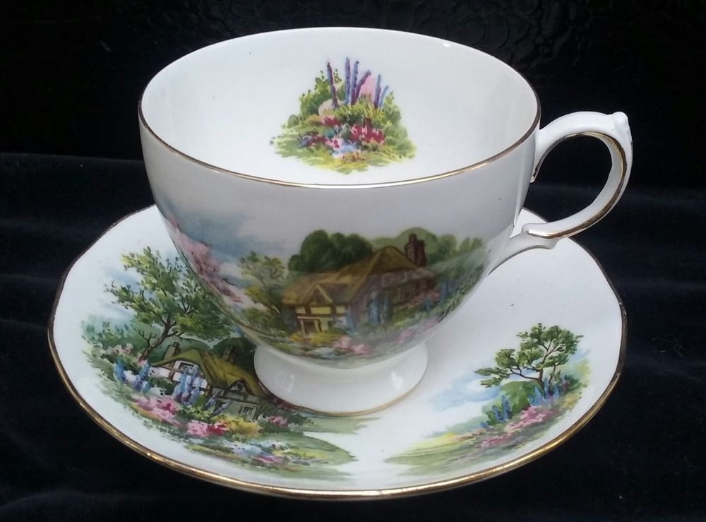 Royal Vale Thatched Cottage Bone China Footed Tea Cup and Saucer