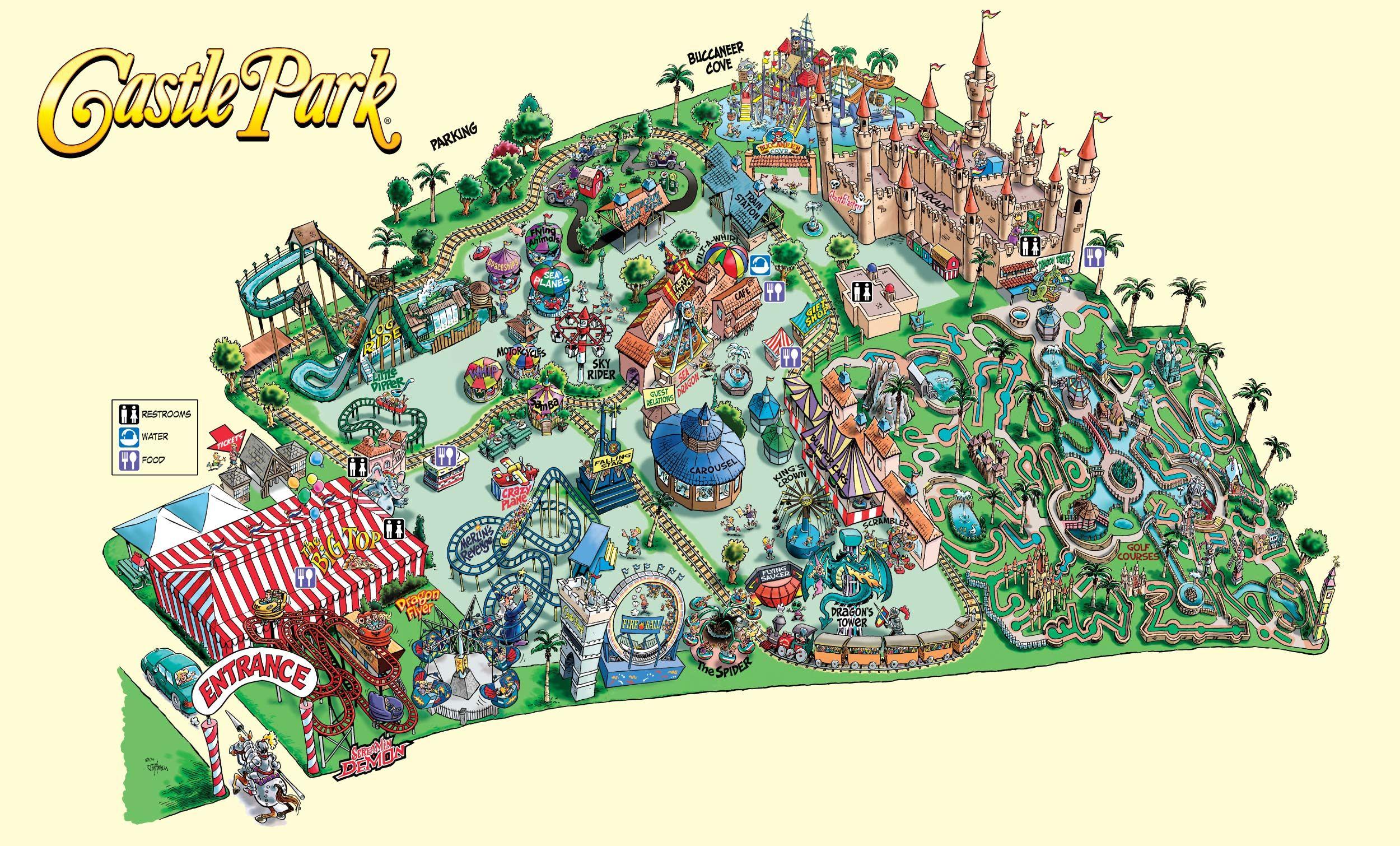 Castle Park Park Map Theme Park Map Six Flags Great Adventure Park
