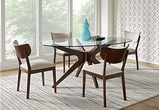 Picture Of Delmon Walnut 5 Pc Oval Dining Set From Dining Room Awesome Oval Dining Room Table Sets Decorating Inspiration