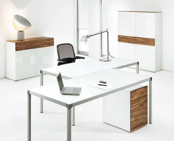 Charming Idea Modern White Office Desk Modest Decoration Modern