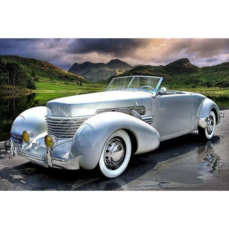 Diy 5d diamond painting silver classic sports car