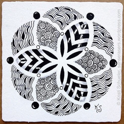 #zentangle 2015-071, the first tile from the #Zendala class @cate.sans.eraser and a I took on Saturday from Tangle Ink Art. | Flickr - Photo Sharing!