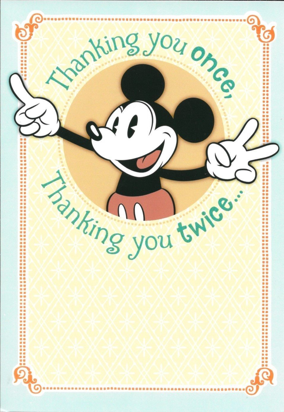 Walt Disney Mickey Mouse Thank You Once Twice Greeting