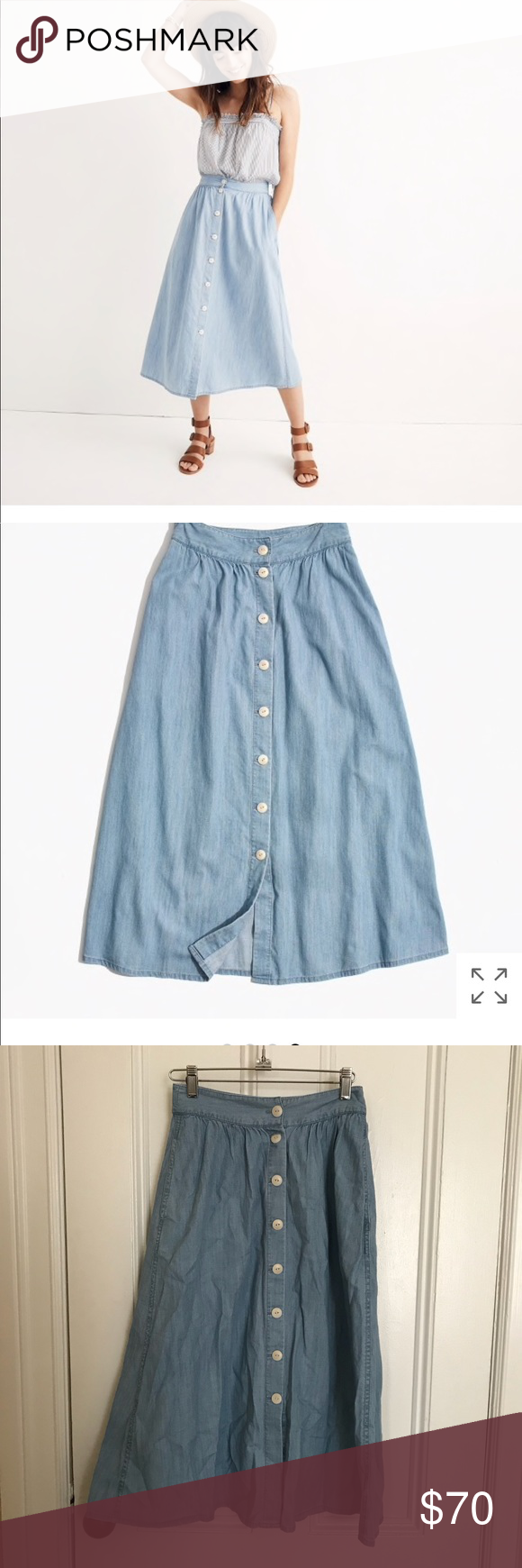 eff566d5b6 Madewell Button front midi Skirt Madewell Palisade Button Front Midi Skirt  in Indigo Size 00 Still