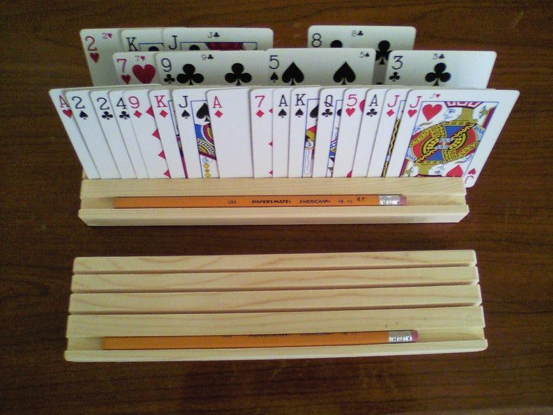 Playing Card Holder Playing Card Rack Euchre Set Rummy Card Etsy Playing Card Holder Diy Playing Cards Rummy Card Game