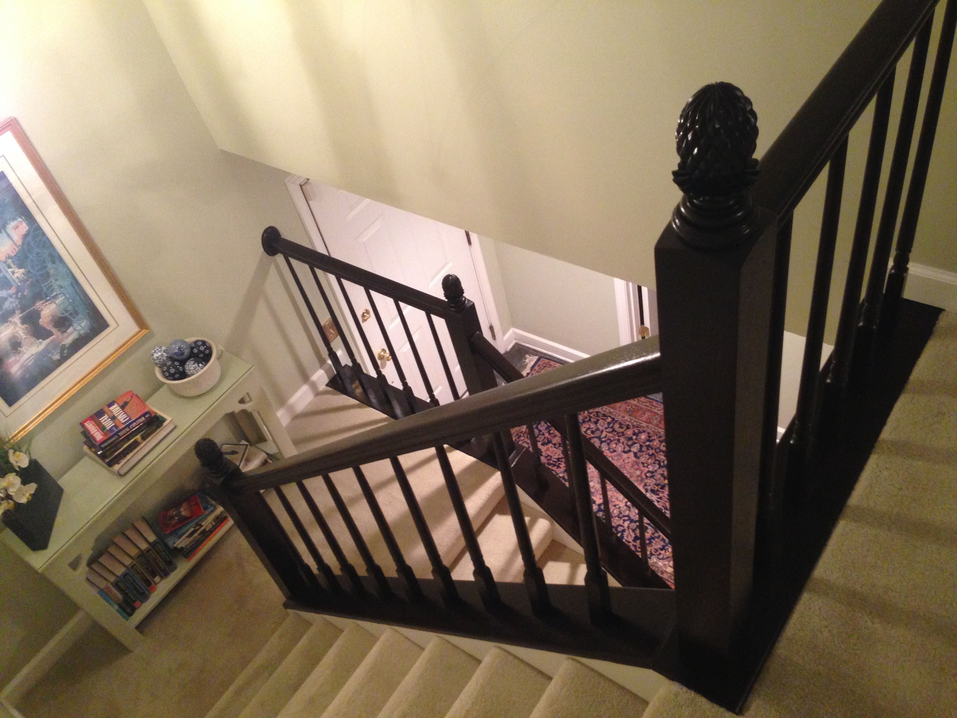 Best Refinished Original Honey Oak Banister With Java Gel Stain And Satin Top Coat Retrofitted Newel 640 x 480