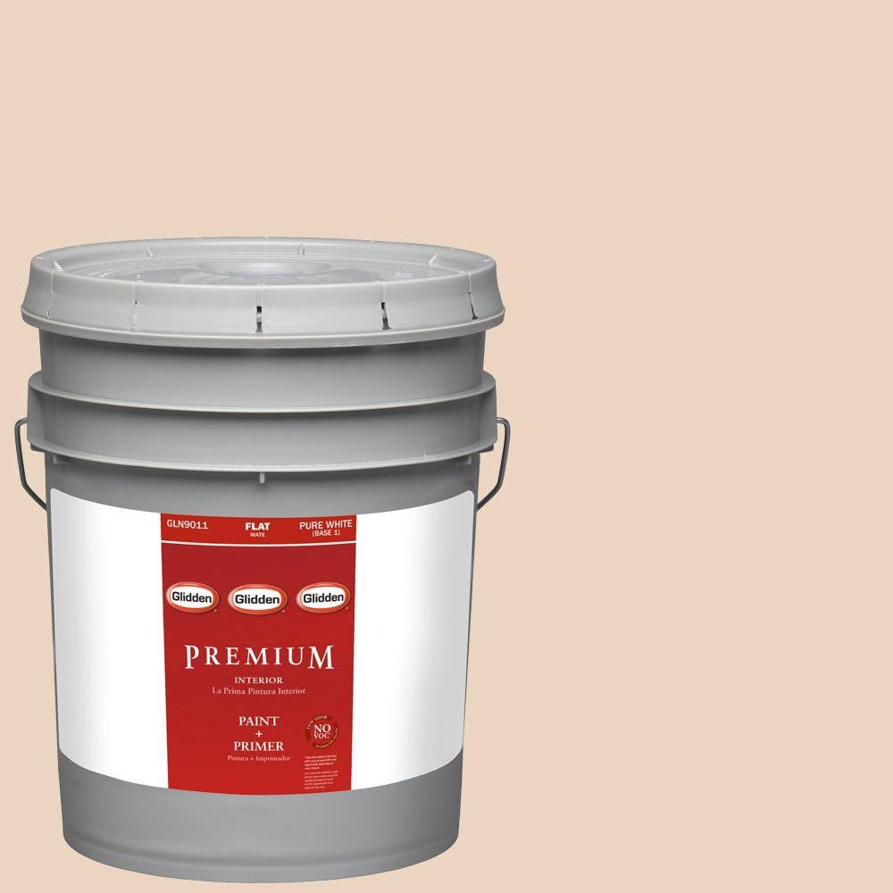Glidden Premium 5-gal. #HDGWN15 Summer Sandcastle Flat Latex Interior Paint with Primer