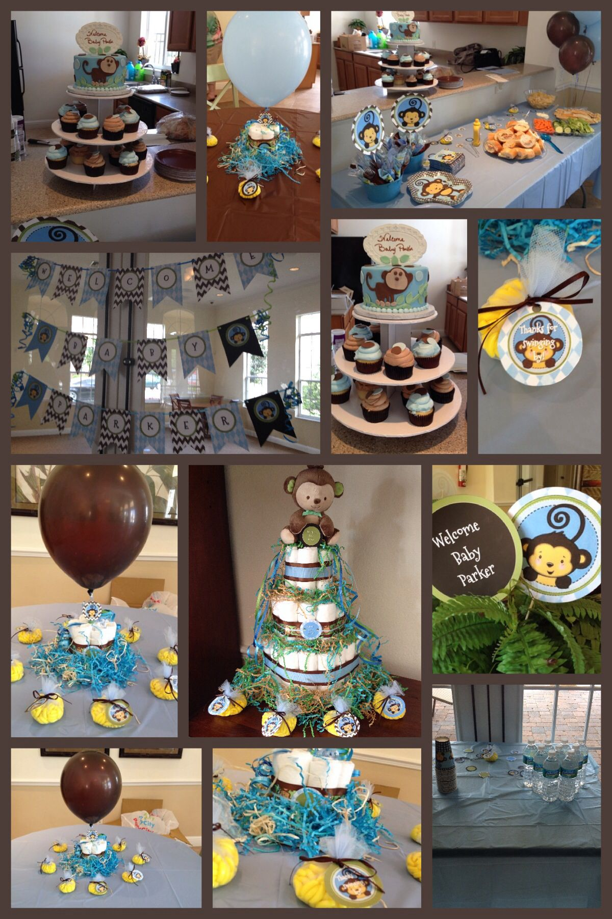 Monkey Boy Baby Shower Theme Blue Green & Brown Custom